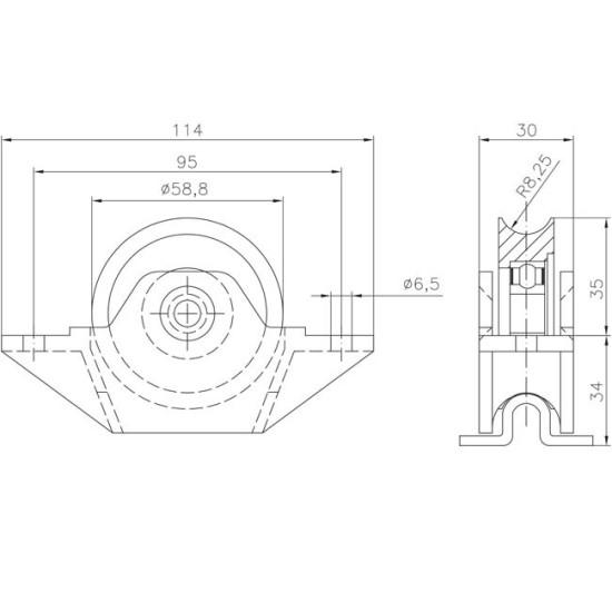 Door Hardware: Wheel to embed Ø60 mm