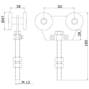 Sliding Gate Hardware Double Metallic Trolley U60