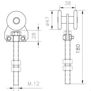sliding gate hardware simple trolley u 60 nylon