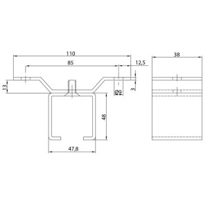 Ceiling Support Sliding Door Track U-40