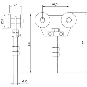 Sliding Door Hardware Double Nylon Trolley Short U4