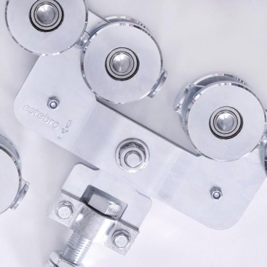 Herrajes puertas correderas colgadas metálicas, inox, aluminio