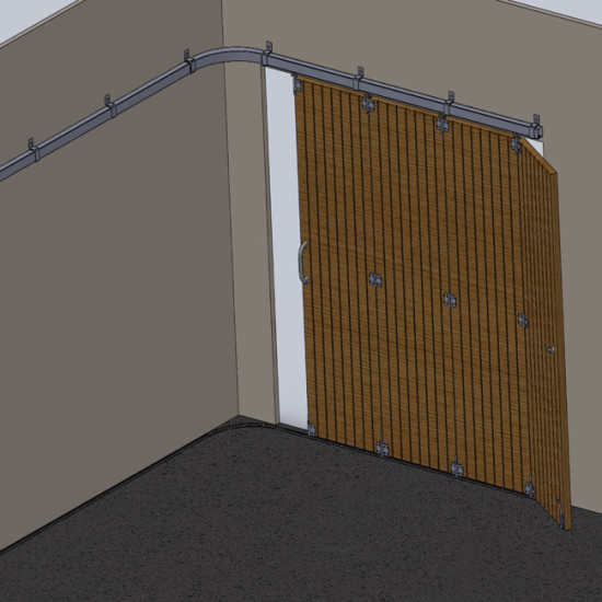 Wooden hanging sliding curved door's hardware