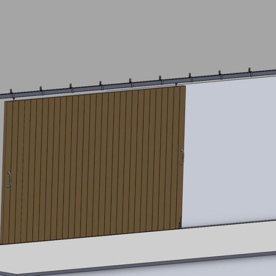 Wooden hanging sliding door's hardware