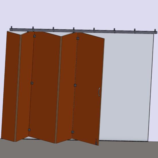 Wooden hanging sliding accordion door's hardware