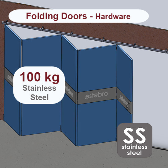 Stainless steel hanging sliding door's with overlapping panels hardware up to 100 Kg