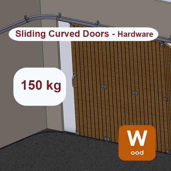 Wooden hanging sliding curved door's hardware up to 150 Kg