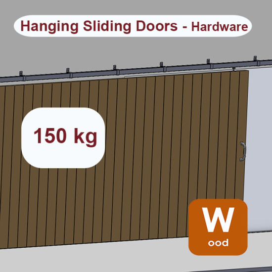 Wooden hanging sliding door's hardware up to 150 Kg