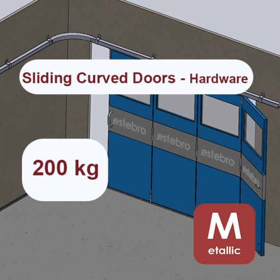 Metallic hanging sliding curved door's hardware up to 200 Kg