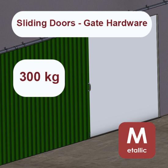 Metallic hanging sliding door's hardware up to 300 Kg