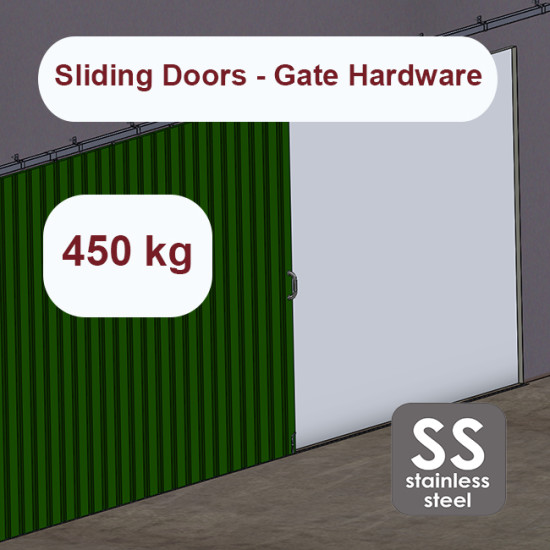 Stainless steel hanging sliding door's hardware up to 450 Kg