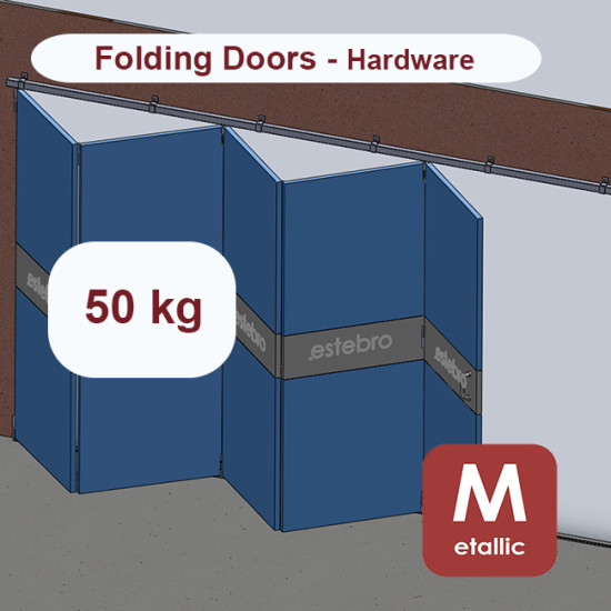 Metallic hanging sliding door's with overlapping panels hardware up to 50 Kg