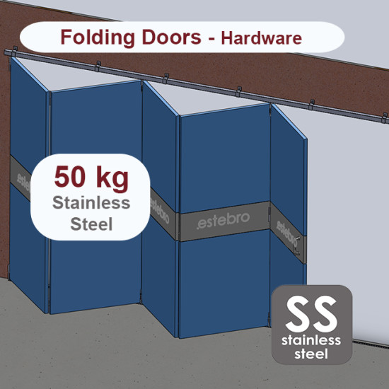 Stainless steel hanging sliding door's with overlapping panels hardware up to 50 Kg