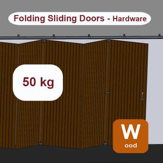 Wooden hanging sliding door's with overlapping panels hardware up to 50 Kg