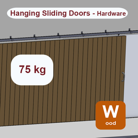 Wooden hanging sliding door's hardware up to 75 Kg