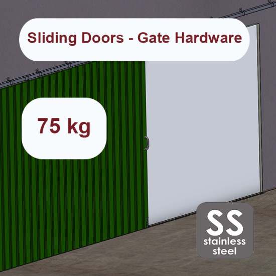 Stainless steel hanging sliding door's hardware up to 75 Kg