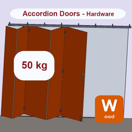 Wooden hanging sliding accordion door's hardware up to 50 Kg